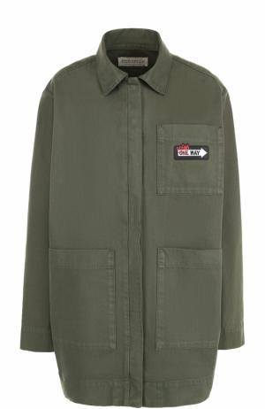 Удлиненная джинсовая куртка свободного кроя Etre Cecile. Цвет: хаки