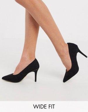 Черные туфли-лодочки для широкой стопы на среднем каблуке -Черный Lipsy