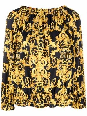 Блузка с открытыми плечами и принтом Versace Jeans Couture. Цвет: черный