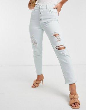 Светло-голубые рваные джинсы прямого кроя с пуговицами Heather-Синий J Brand