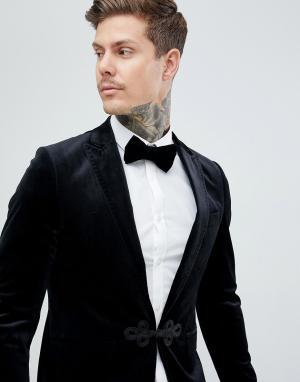 Бархатный приталенный блейзер с атласными лацканами Premium Gianni Feraud. Цвет: черный