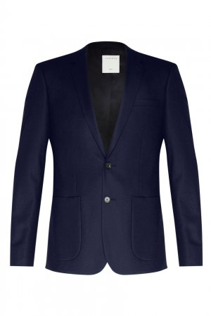 Синий пиджак из шерсти Sandro. Цвет: синий