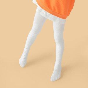 Однотонные колготки для девочек SHEIN. Цвет: белый