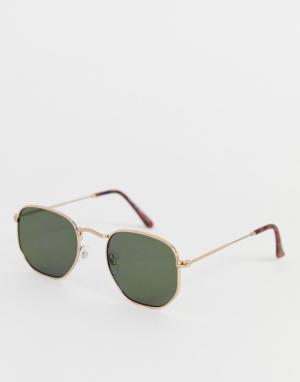 Солнцезащитные очки в золотистой оправе -Золотой River Island