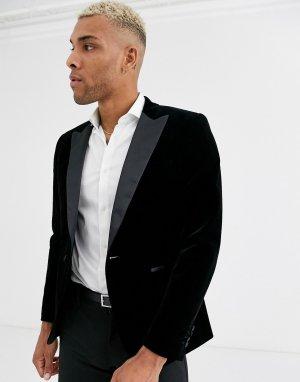 Черный бархатный пиджак-смокинг с острыми лацканами -Зеленый Only & Sons