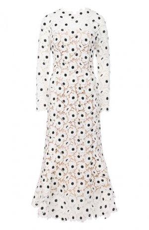 Платье-миди Oscar de la Renta. Цвет: белый