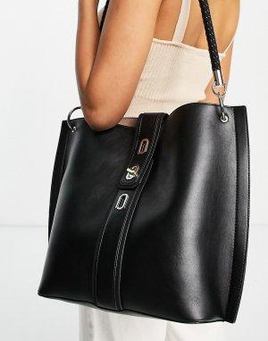 Черная большая сумка-тоут с поворотным замком -Черный цвет Topshop