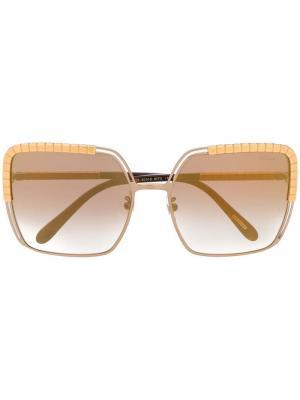 Солнцезащитные очки в массивной оправе Chopard Eyewear. Цвет: коричневый