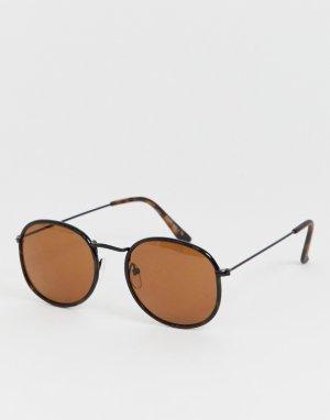 Круглые солнцезащитные очки с коричневыми стеклами Only & Sons. Цвет: коричневый