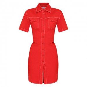 Джинсовое платье Off-White. Цвет: красный