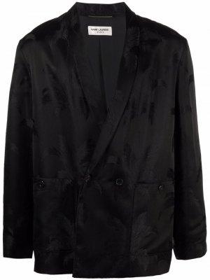 Двубортный жаккардовый пиджак Saint Laurent. Цвет: черный