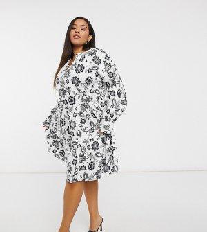 Ярусное свободное платье мини с завязкой на горловине и черно-белым цветочным принтом -Многоцветный Glamorous Curve