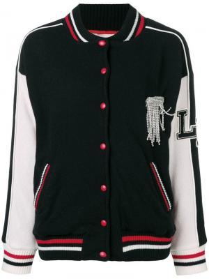 Декорированная куртка-бомбер Laneus. Цвет: черный
