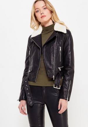 Куртка кожаная B.Style BS002EWWVU48. Цвет: черный