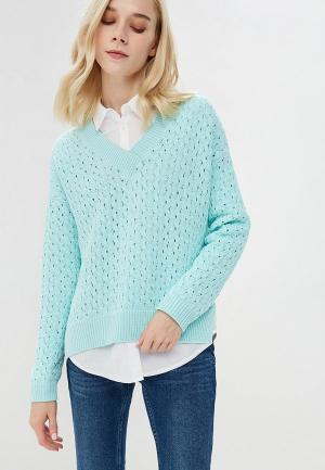 Пуловер Free Age. Цвет: бирюзовый