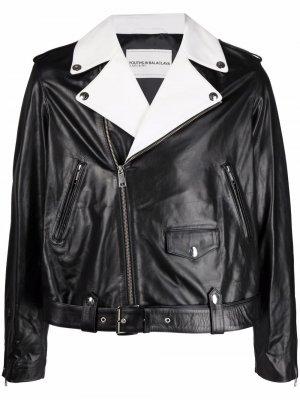 Fringe-detail calf leather jacket Youths In Balaclava. Цвет: черный