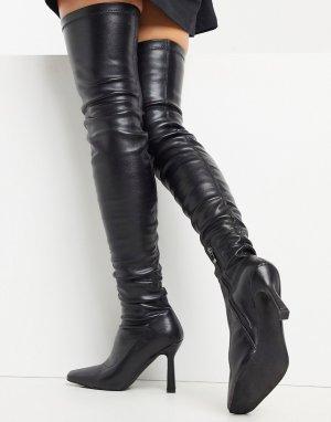 Черные ботфорты Simmi London Karin-Черный Shoes