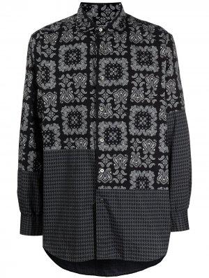 Рубашка в технике пэчворк Engineered Garments. Цвет: черный