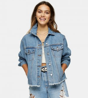 Джинсовая oversized-куртка умеренно-выбеленного синего цвета -Многоцветный Topshop Petite