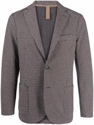 Пиджак с узором в елочку Eleventy. Цвет: коричневый