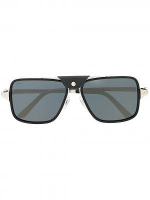 Солнцезащитные очки в квадратной оправе Cartier Eyewear. Цвет: синий