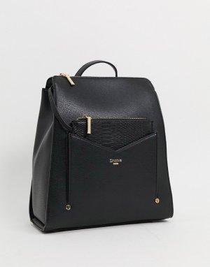 Черный рюкзак с крокодиловой отделкой Dune
