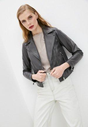 Куртка кожаная Blouson. Цвет: серый