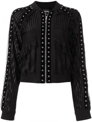 Куртка-бомбер с кружевными панелями Just Cavalli. Цвет: чёрный