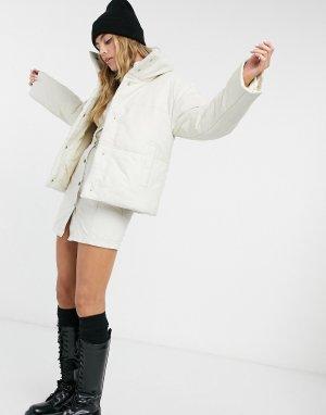 Кремовая кожаная куртка-бомбер с утеплителем -Белый Muubaa