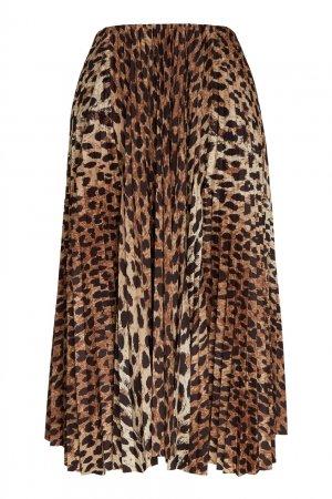 Леопардовая плиссированная юбка миди Balenciaga. Цвет: леопардовый