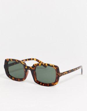 Квадратные солнцезащитные очки в толстой черепаховой оправе -Коричневый AJ Morgan
