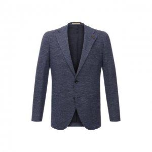 Пиджак из хлопка и льна Sartoria Latorre. Цвет: синий