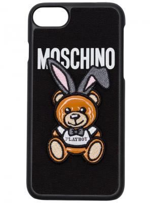 Чехол для iPhone 7 Playboy Moschino. Цвет: черный