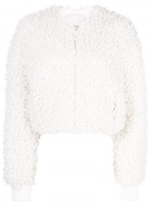 Укороченная куртка-бомбер Tibi. Цвет: белый