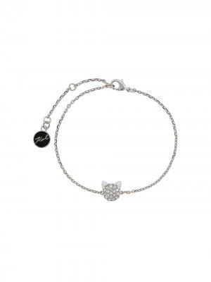 Браслет с кулоном Choupette кристаллами Karl Lagerfeld. Цвет: серебристый