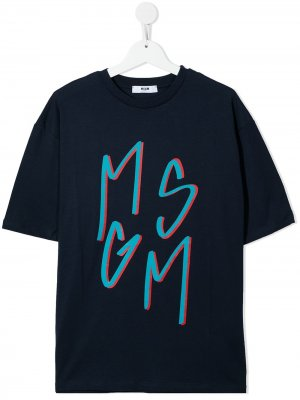 Футболка с логотипом MSGM Kids. Цвет: синий