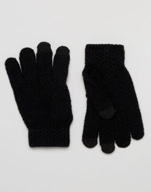 Черные фактурные перчатки для использования с сенсорным экраном 7X. Цвет: черный