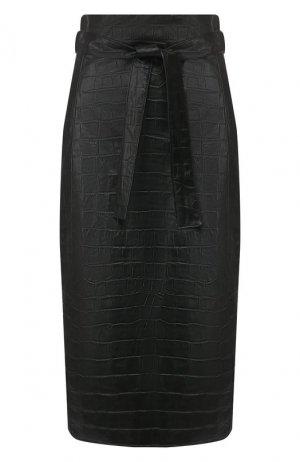 Кожаная юбка DROMe. Цвет: черный