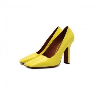 Кожаные туфли Boomerang VETEMENTS. Цвет: жёлтый