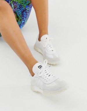 Замшевые кроссовки на массивной подошве -Белый Bronx