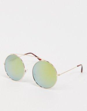 Круглые солнцезащитные очки с золотистой отделкой -Золотистый SVNX