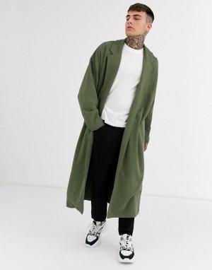 Удлиненный трикотажный oversized-жакет цвета хаки -Зеленый ASOS DESIGN