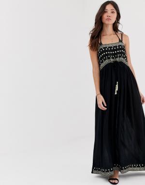 Платье макси с открытыми плечами и отделкой Anmol. Цвет: темно-синий