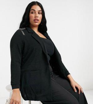 Черный пижак с декоративной отделкой на плечах Junarose