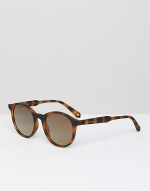 Круглые солнцезащитные очки в черепаховой оправе TB1503 173 Ted Baker. Цвет: коричневый