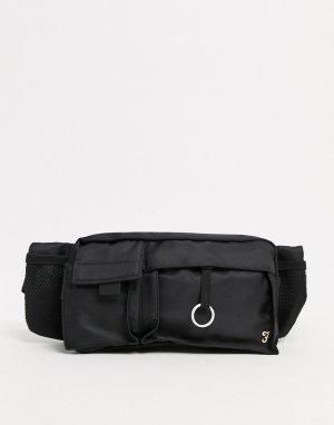 Сумка-кошелек на пояс с пуллером для бегунка -Черный цвет Farah
