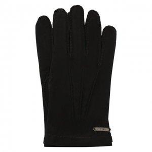 Замшевые перчатки Corneliani. Цвет: чёрный