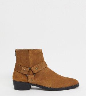 Светло-коричневые замшевые ботинки челси для широкой стопы в стиле вестерн с кубинским каблуком и пряжкой -Коричневый ASOS DESIGN