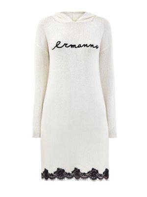 Вязаное платье с кружевной отделкой и капюшоном ERMANNO SCERVINO. Цвет: белый