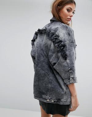 Джинсовая oversize-куртка с рюшами Diesel. Цвет: серый
